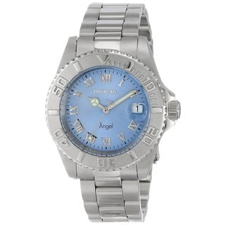 Invicta Women's 'Angel' Blue Dial Quartz Stainless Steel Watch