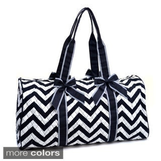 Rosen Blue Large Quilted Chevron Print Duffle Bag