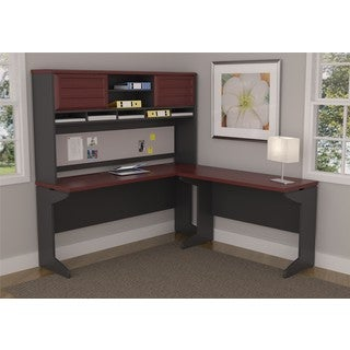 Pursuit Cherry L-desk and Hutch