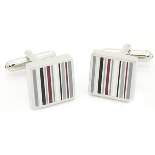 Ferrecci Men's Silvertone Metal Modern Stripe Cuff Links with Jewelry Box