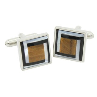 Ferrecci Men's Silvertone Modern Shell Cuff Links with Jewelry Box