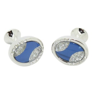 Ferrecci Silvertone Metal Blue Glass Cuff Links with Jewelry Box