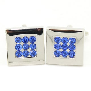 Ferrecci Silvertone Metal Modern Crystal Cuff Links with Jewelry Box