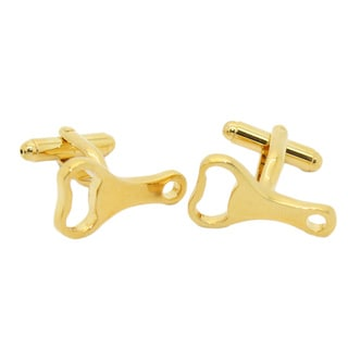 Ferrecci Men's Goldtone Bottle Opener Cuff Links with Bonus Jewelry Box