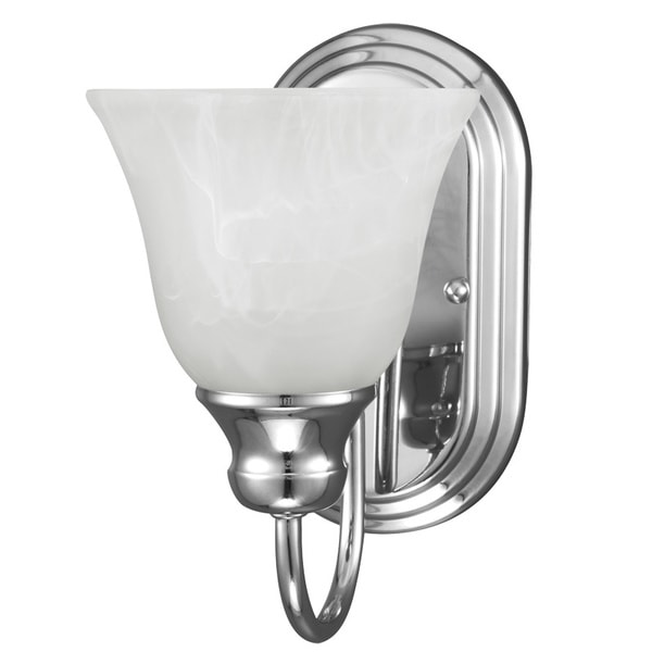 sea gull lighting windgate 1 light wall bath chrome sconce with white