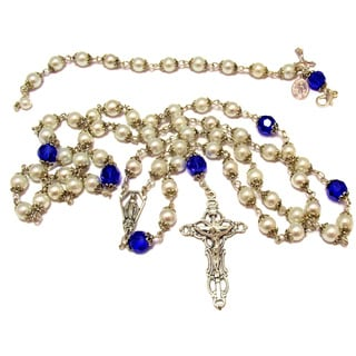 White Glass Pearl and Sapphire Blue Crystal Rosary and Bracelet Set