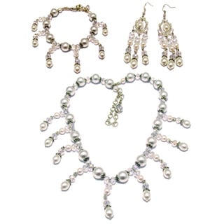White Glass Pearl and Clear Crystal 3-piece Wedding Jewelry Set
