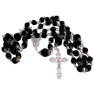 32-inch Jet Black Glass Pearl and Crystal Rosary