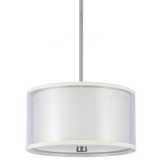 Jordyn 2-light Brushed Nickel Pendant with Shade and Diffuser