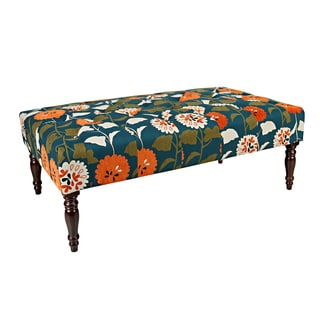 angelo:HOME Margaux Orange and Turquoise Blue Meadow Flowers Tufted Cocktail Ottoman