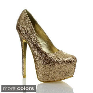 Liliana Women's 'Aisha-12' Glittery Hidden Platform Pumps