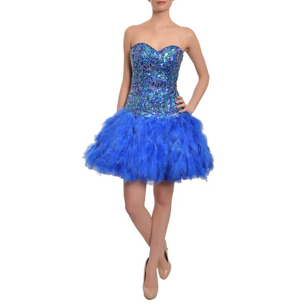 Mac Duggal Royal Feather Sweetheart Strapless Cocktail Party Prom Dress