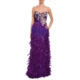 Mac Duggal Amazing Sequin Jeweled Feather Evening Gown Dress