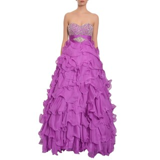 Mac Duggal Fully Encrusted Strapless Curly-Q Ruffles Evening Gown