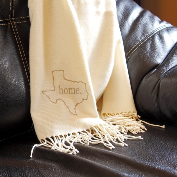 Personalized Embroidered Home State Throw Blanket - Cream