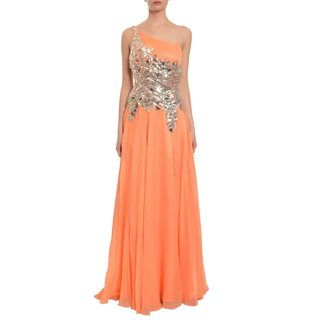 Mac Duggal Captivating Melon Chiffon Sparkling Chiffon Evening Gown