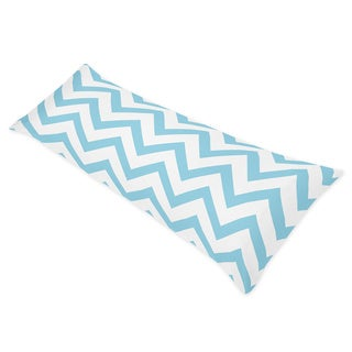 Sweet Jojo Designs Turquoise/ White Chevron Full Length Double Zippered Body Pillow Case