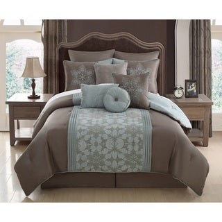 Amethyst 10-piece Flocking Comforter Set