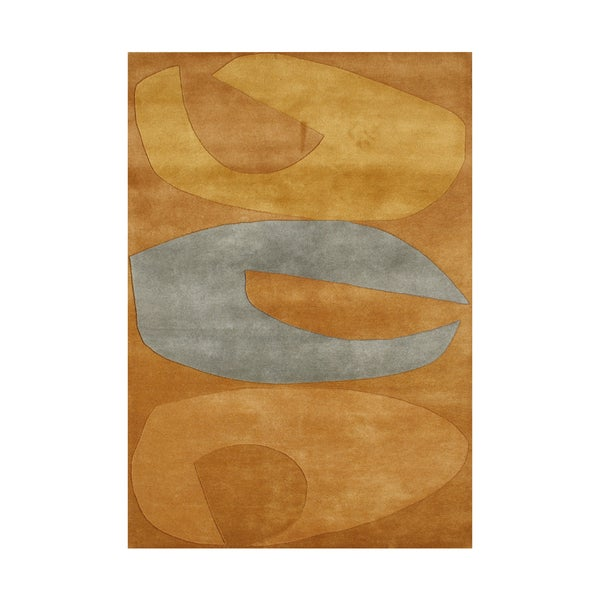 Alliyah Handmade Apricot Buff New Zealand Blended Wool Rug (8' x 10')
