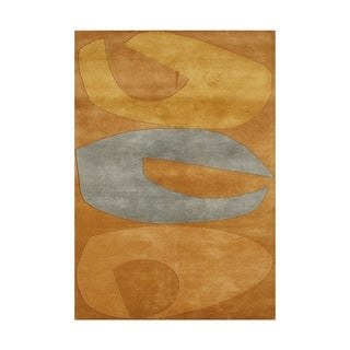 Hand-made Apricot Buff New Zealand Blended Wool Rug (8' x 10')