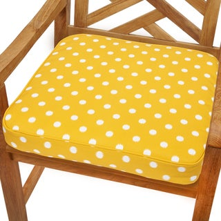 Yellow Dots 19-inch Indoor/ Outdoor Corded Chair Cushion