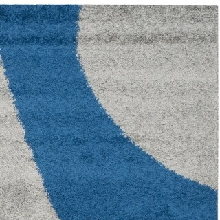 Safavieh Shag Grey/ Blue Rug (6' x 9')