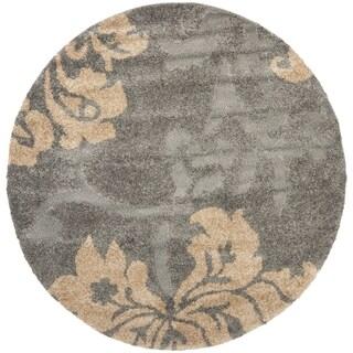 Safavieh Shag Grey/ Beige Rug (4' Round)