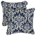 Deep Blue Damask Corded Indoor/ Outdoor Square Pillows (Set of 2)