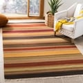 Safavieh Hand-woven Striped Kilim Gold Wool Rug (5' x 8')