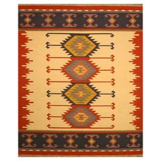 EORC Handmade Ivory/ Red Keysari Kilim Wool Rug (5' x 8')