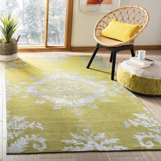 Safavieh Hand-knotted Stone Wash Chartreuse Wool/ Cotton Rug (5' x 8')