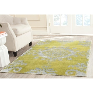 Safavieh Hand-knotted Stone Wash Chartreuse Wool/ Cotton Rug (8' x 10')