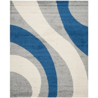 Safavieh Shag Grey/ Blue Rug (5'3 x 7'6)