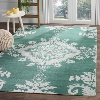 Safavieh Hand-knotted Stone Wash Emerald Wool/ Cotton Rug (4' x 6')