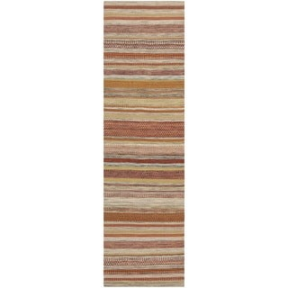 Safavieh Hand-woven Striped Kilim Beige Wool Rug (2'3 x 10')