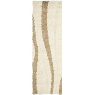 Safavieh Shag Cream/ Dark Brown Rug (2'3 x 8')