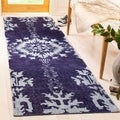 Safavieh Hand-knotted Stone Wash Deep Purple Wool/ Cotton Rug (2'6 x 8')