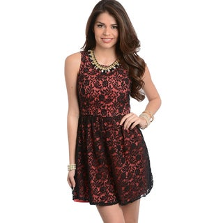 Feellib Women's Sleeveless Floral Lace Dress