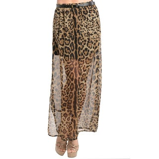 Feellib Women's Leopard Print Maxi Skirt