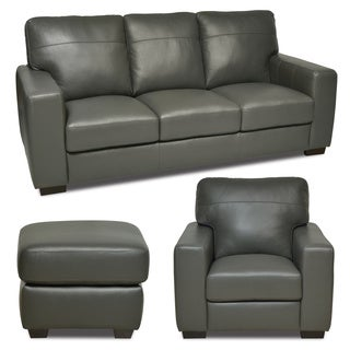 Italian Leather Gray Sofa/ Chair/ Ottoman Set