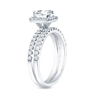 Auriya 14k Gold 1 1/4ct TDW Princess Diamond Halo Bridal Ring Set (H-I, SI1-SI2)