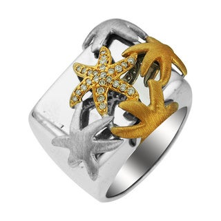 Sonia Bitton 14k Yellow Gold and Sterling Silver Diamond Starfish Nautical Ring (H-I, SI1-SI2)