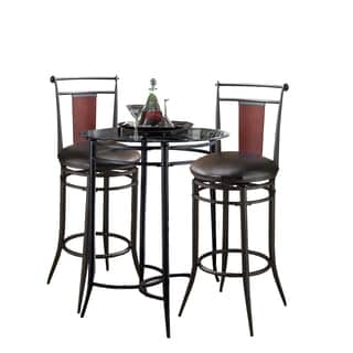 Midtown 3-piece Black/Cherry Bistro Set
