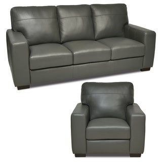 Italian Leather Gray Sofa and Chair Set