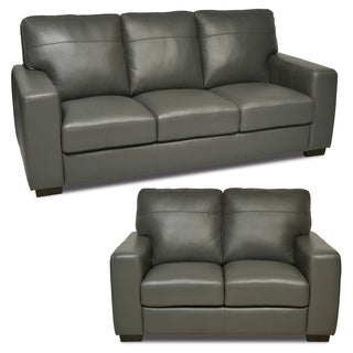 Italian Leather Grey 2-piece Sofa/ Loveseat Set