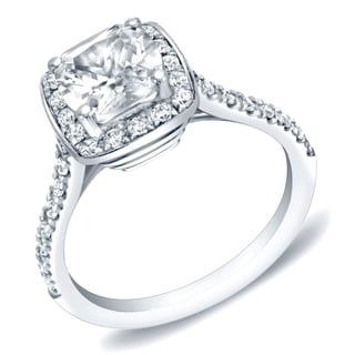 Auriya 14k Gold 2ct TDW Certified Cushion-cut Diamond Engagement Ring (H-I, SI1-SI2)