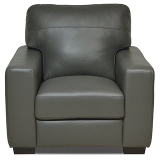 Italian Grey Leather Chair