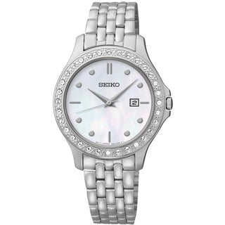 Seiko Women's SXDF87 Dress Mother-Of-Pearl Dial St. Steel Swarovski Watch