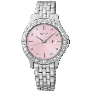 Seiko Women's SXDF89 Dress Pink Dial St. Steel Swarovski Watch