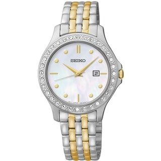 Seiko Women's SXDF91 Dress Mother-Of-Pearl Dial Two-Tone Swarovski Watch